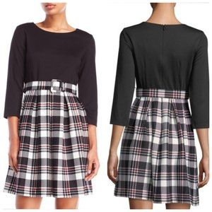 ELIZA J Plaid Belted A-Line Dress